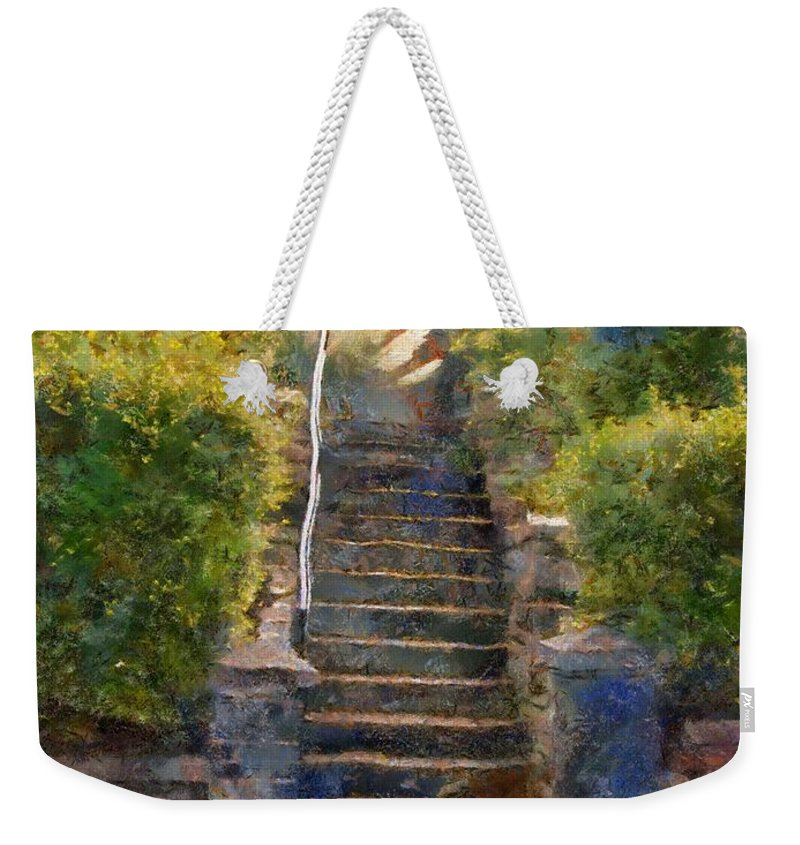 Clouds Weekender Tote Bag featuring the painting Tipsy Stairs by RC DeWinter