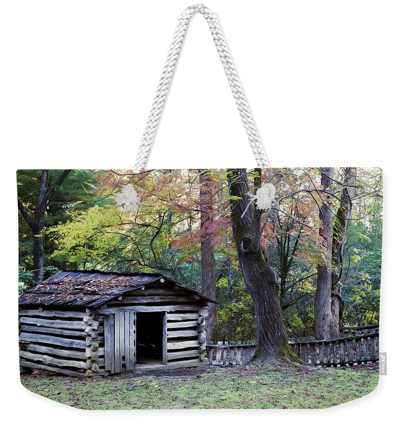 Appalachia Weekender Tote Bag featuring the photograph Tipton Smokehouse by Lana Trussell
