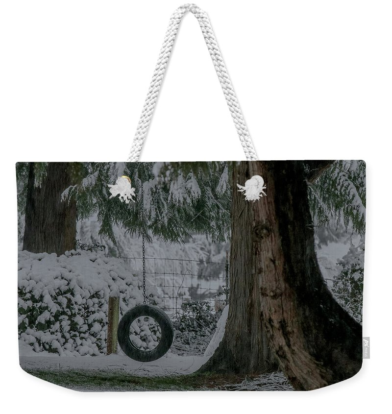 Tire Swing Weekender Tote Bag featuring the photograph Tire Swing In Winter by E Faithe Lester