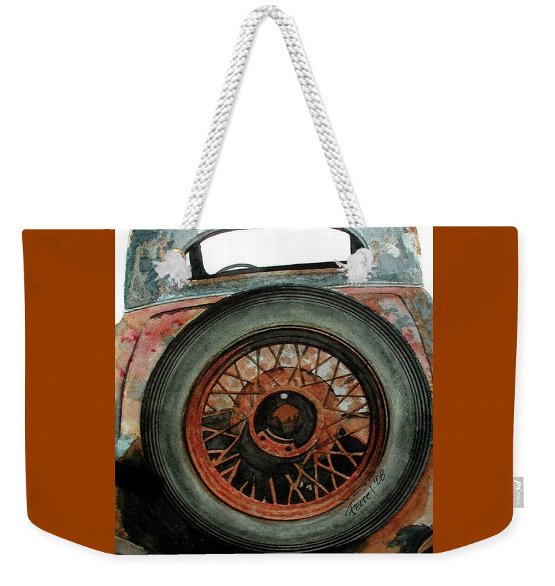 Car Weekender Tote Bag featuring the painting Tired by Ferrel Cordle