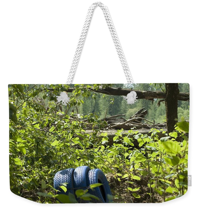 Tire Weekender Tote Bag featuring the photograph Tires Blue by Sara Stevenson