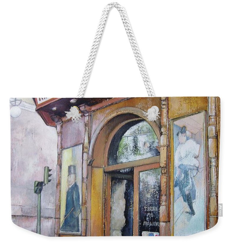Tirso Weekender Tote Bag featuring the painting Tirso De Molina Old Tavern by Tomas Castano