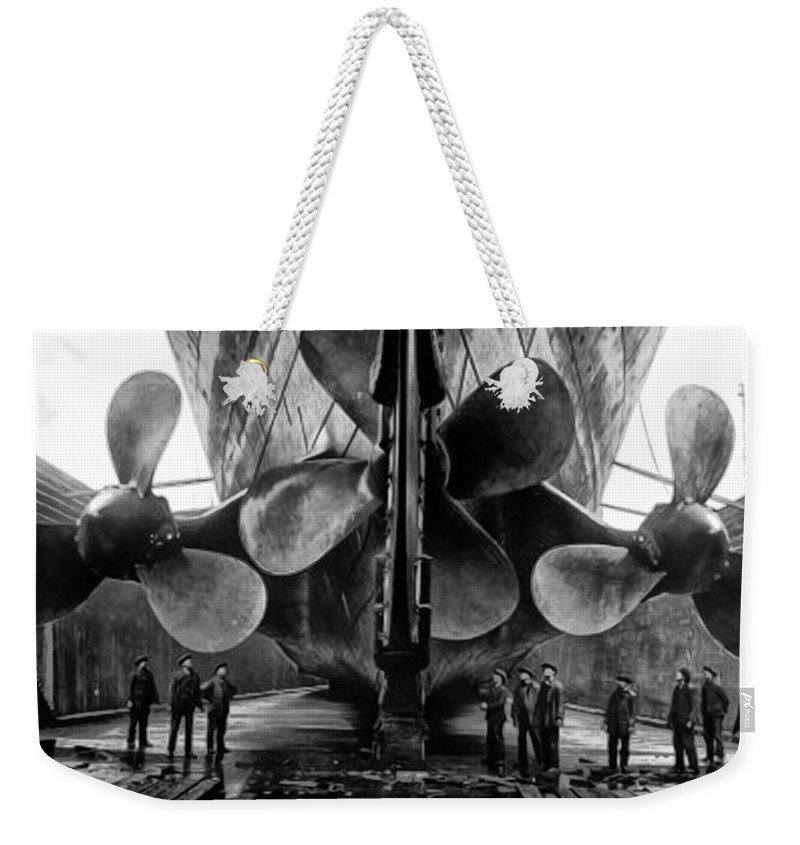 Unsinkable Weekender Tote Bag featuring the photograph Titanic Propellers by Bill Cannon