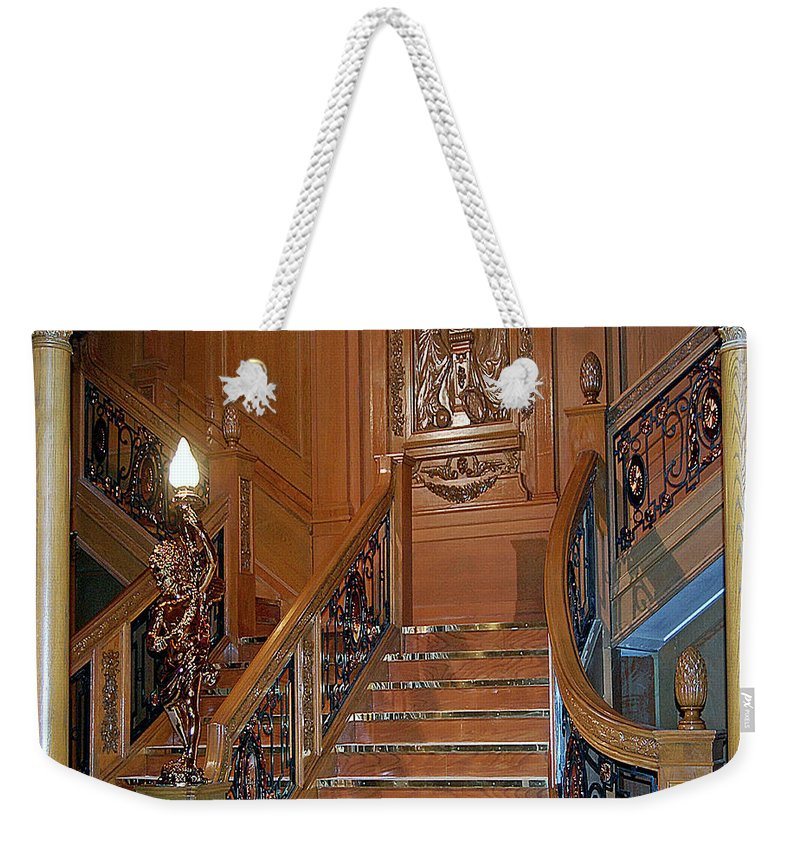 Titanic Weekender Tote Bag featuring the digital art Titanics Grand Staircase by DigiArt Diaries by Vicky B Fuller