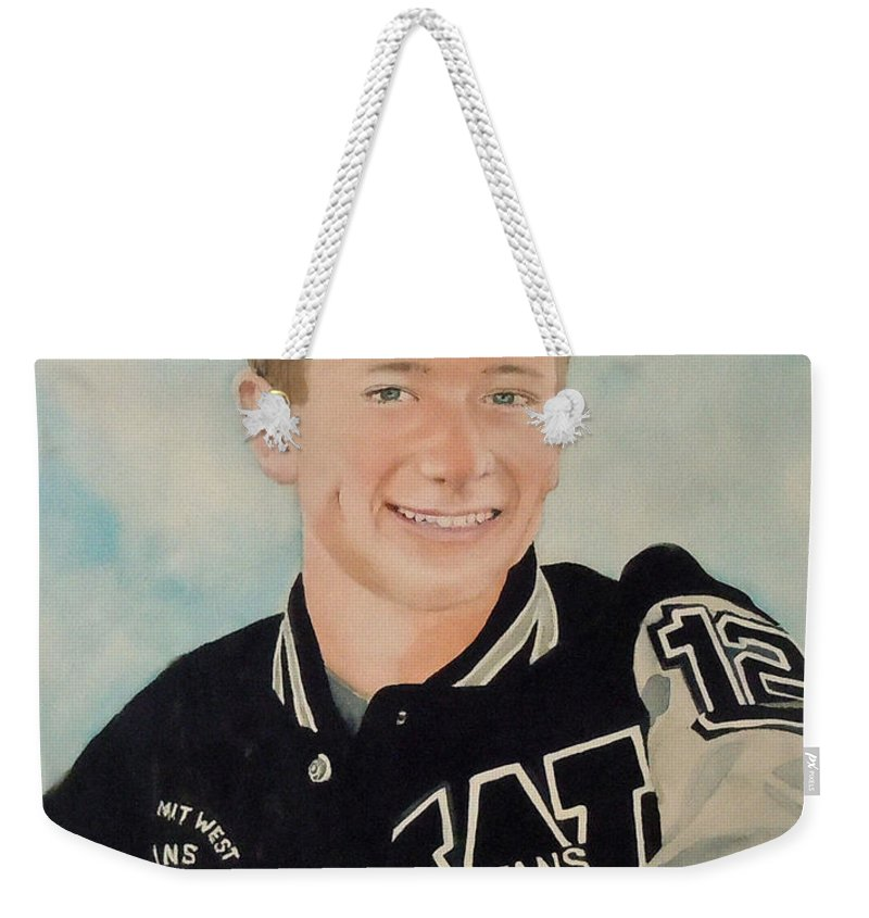 Titans Weekender Tote Bag featuring the painting Titans Number 12 by Jean Blackmer