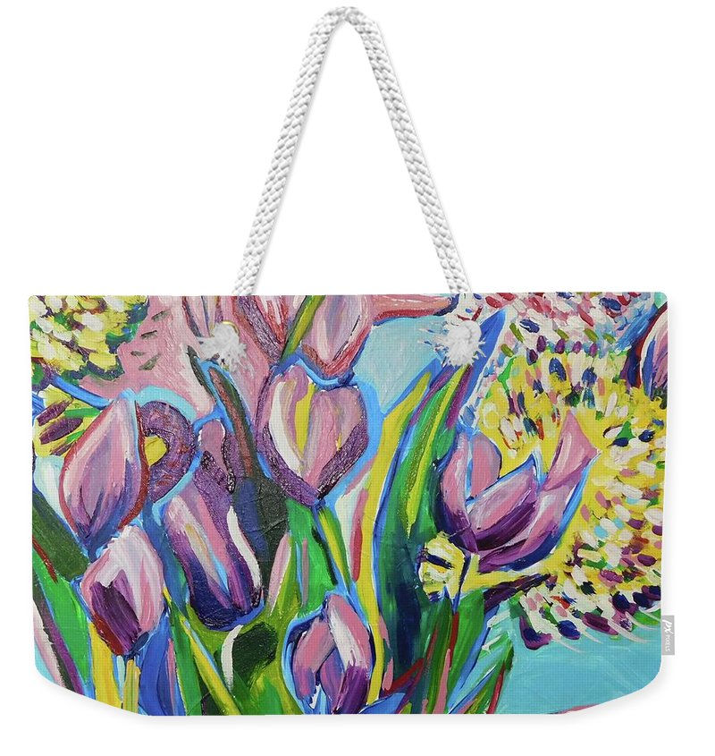 Floral Weekender Tote Bag featuring the painting Pink Floral On Blue by Catherine Gruetzke-Blais