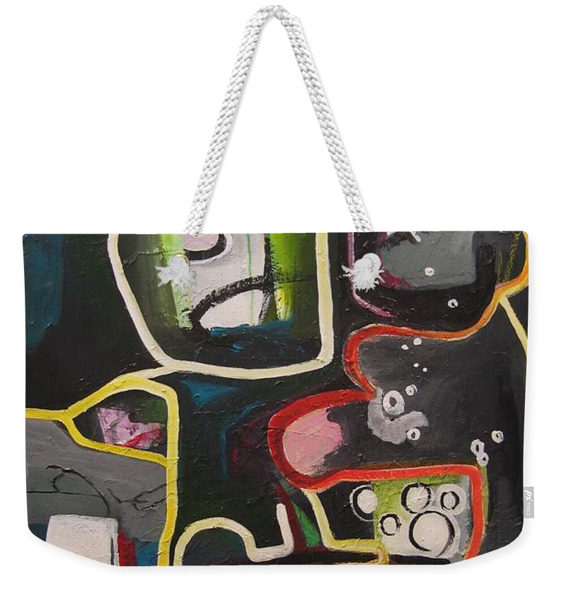 Couple Paintings Weekender Tote Bag featuring the painting To Get Along by Seon-Jeong Kim