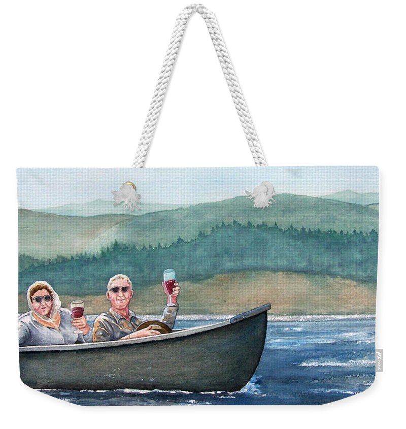 Canoe Weekender Tote Bag featuring the painting To Life by Gale Cochran-Smith