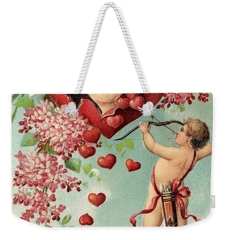 To My Valentine Weekender Tote Bag featuring the painting To My Valentine Vintage Romantic Greetings by R Muirhead Art