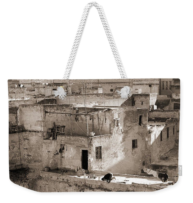 Black&white Weekender Tote Bag featuring the photograph To Praying In Fez - Morocco by Enrique Crusellas