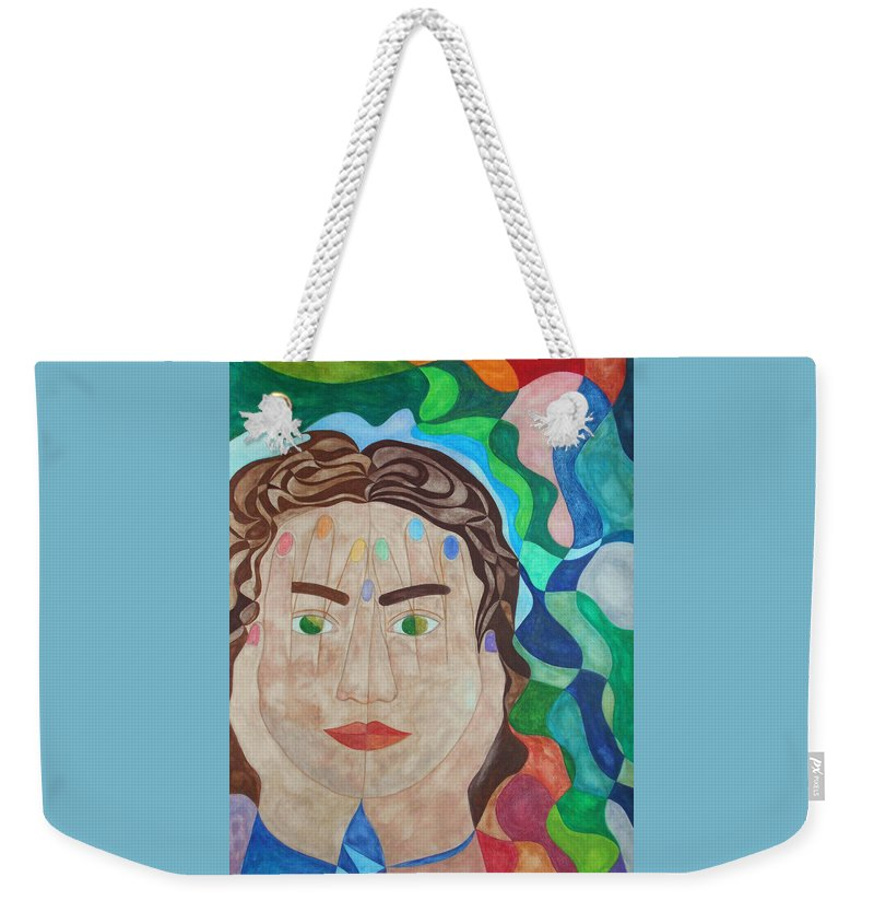 Woman Girl Surrealist Surrealism Watercolor Painting Paintings Expressionist Expressionistic Color Colorful Multicolored Hands Face Eyes Lips Hair Symbolic Symbolism Figurative Weekender Tote Bag featuring the painting To See Or Not To See by Laura Joan Levine