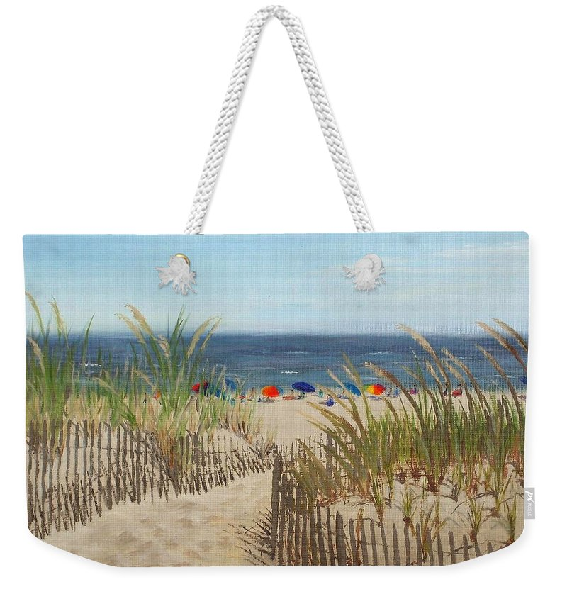 Beach Weekender Tote Bag featuring the painting To The Beach by Lea Novak