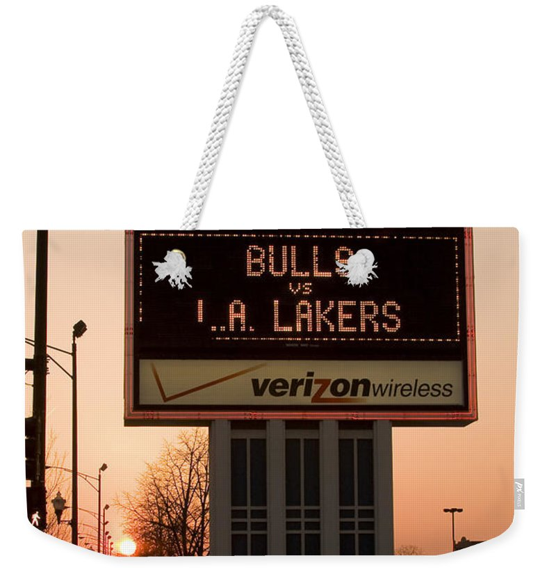 Chicago Windy City Evening Sunset Bulls Game La L.a. Lakers United Center Weekender Tote Bag featuring the photograph To The Bulls Game by Andrei Shliakhau