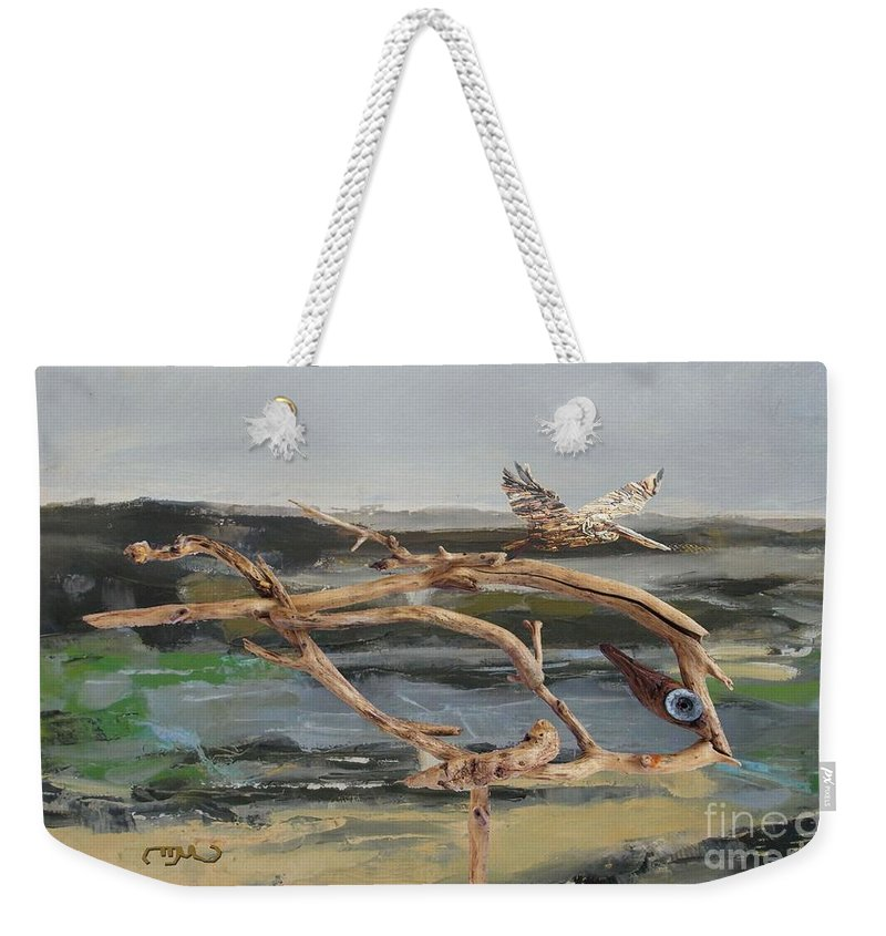 Modern Painting Weekender Tote Bag featuring the mixed media To The Impossible Dream by Pemaro