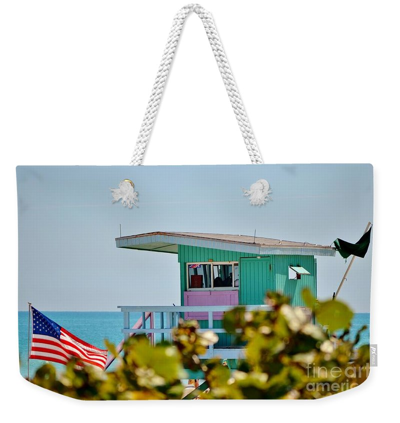 Lifeguard Stand Weekender Tote Bag featuring the photograph To The Rescue 10 by Rene Triay Photography