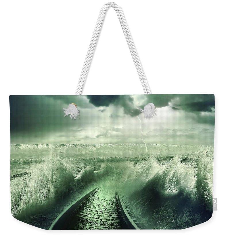 Aqua Weekender Tote Bag featuring the photograph To The Sea by Svetlana Sewell