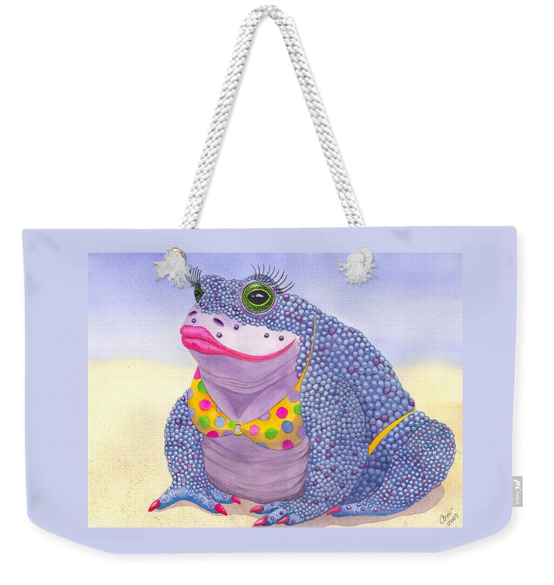 Toad Weekender Tote Bag featuring the painting Toadaly Beautiful by Catherine G McElroy