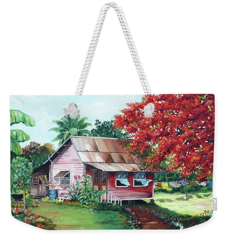 House Painting Weekender Tote Bag featuring the painting Tobago Country House by Karin Dawn Kelshall- Best
