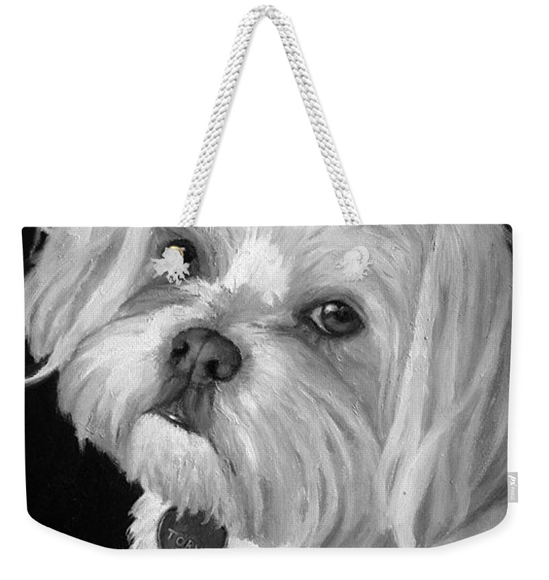 Dogs Weekender Tote Bag featuring the painting Toby by Portraits By NC
