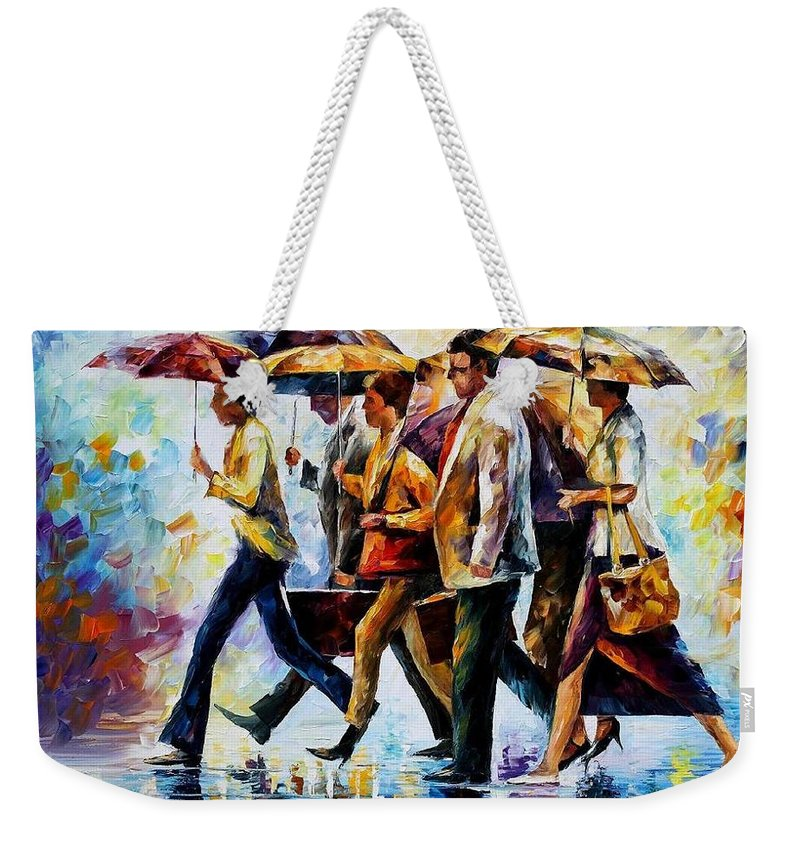 Afremov Weekender Tote Bag featuring the painting Today I Forgot My Umbrella... by Leonid Afremov