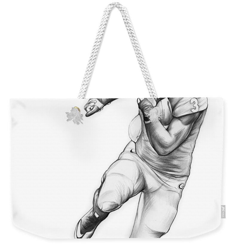Todd Gurley Weekender Tote Bag featuring the drawing Todd Gurley by Greg Joens