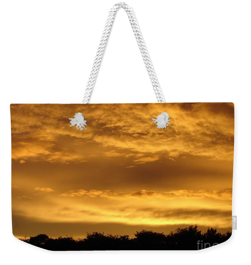Sunset Weekender Tote Bag featuring the photograph Toffee Sunset 3 by Carol Lynch
