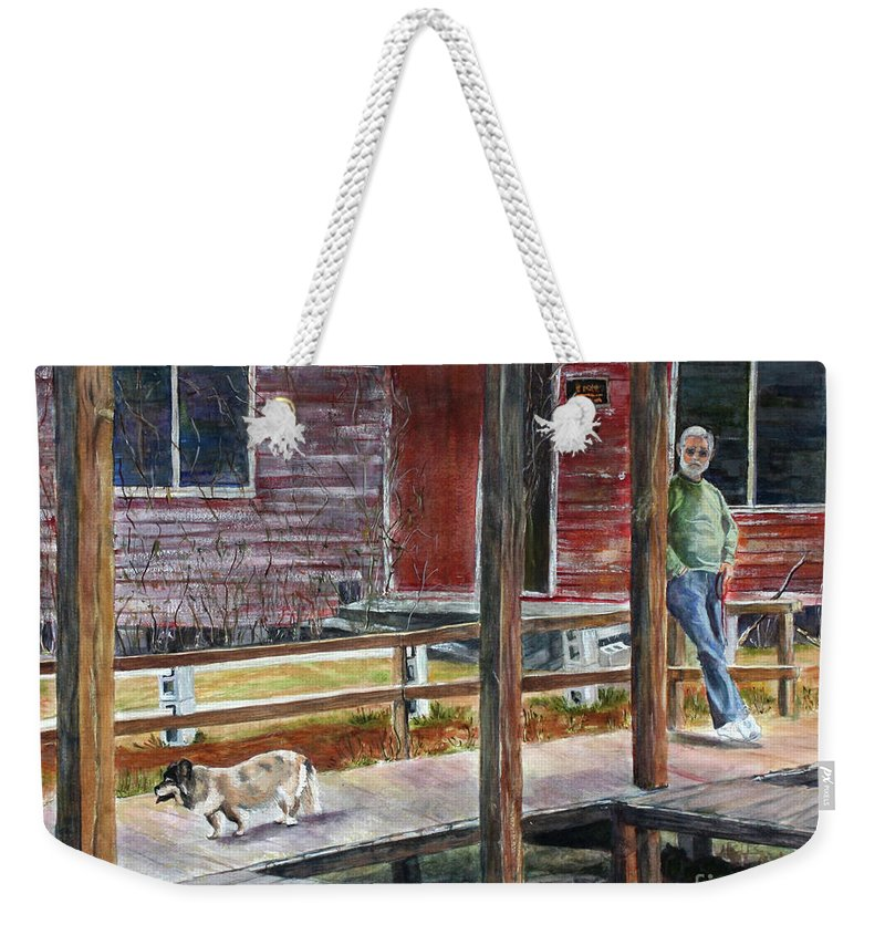 Old Dog Weekender Tote Bag featuring the painting Together Again At The Old Fish Camp by Janet Felts