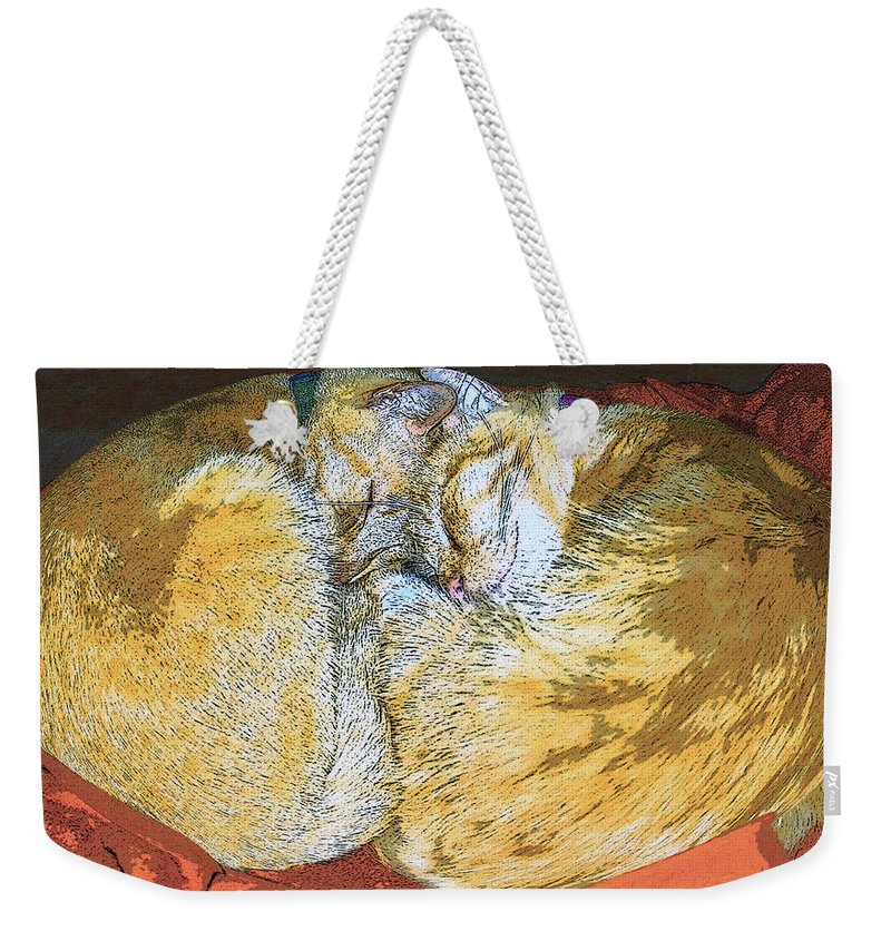 Artwork Weekender Tote Bag featuring the painting Together Forever by David Lee Thompson