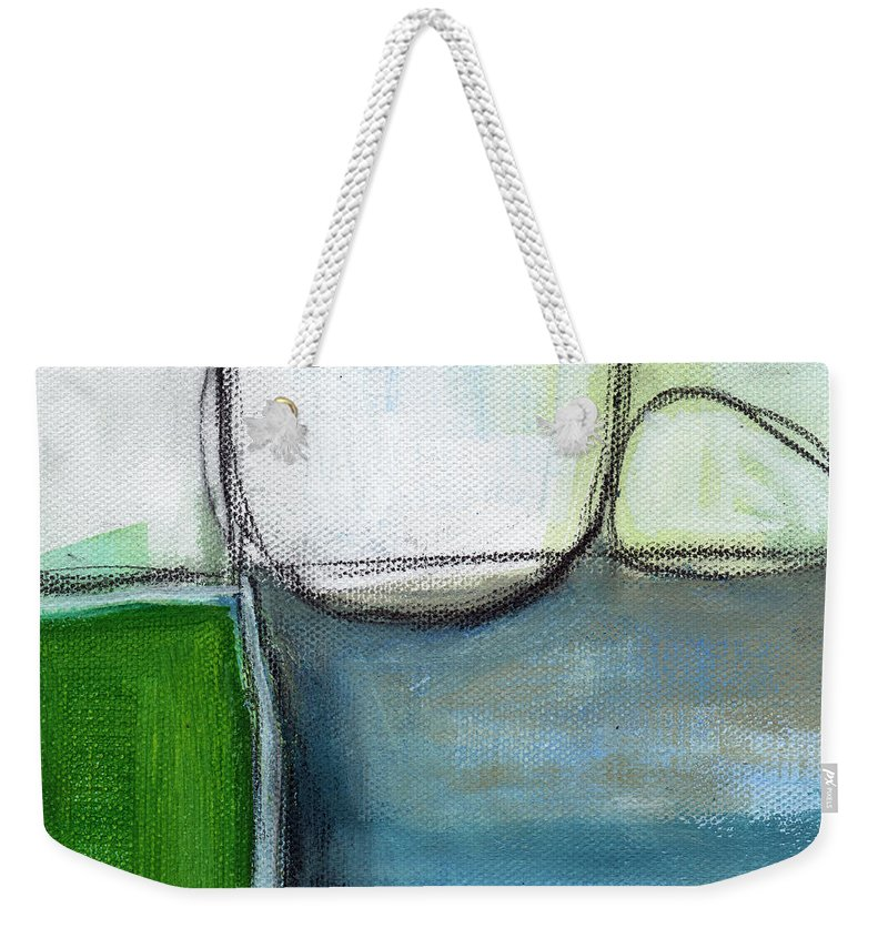 Abstract Weekender Tote Bag featuring the painting Together by Linda Woods