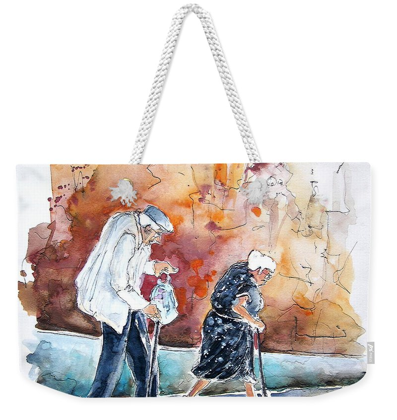 Portugal Paintings Weekender Tote Bag featuring the painting Together Old In Portugal 01 by Miki De Goodaboom