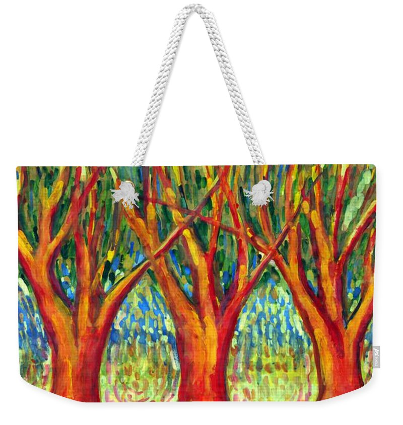 Colour Weekender Tote Bag featuring the painting Together by Wojtek Kowalski