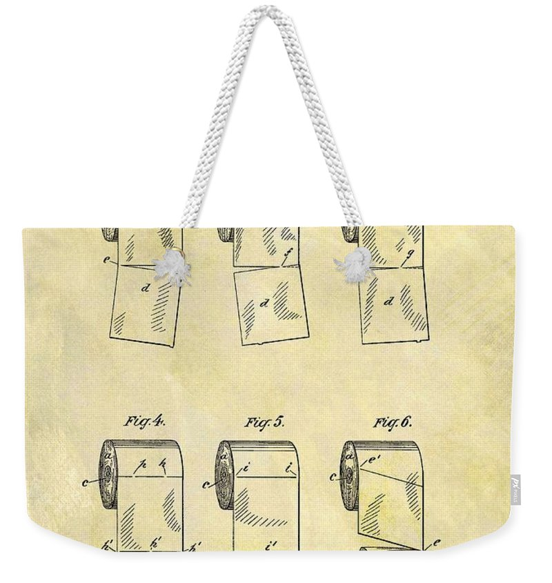 Toilet Paper Roll Patent Weekender Tote Bag featuring the drawing Toilet Paper Patent Illustration by Dan Sproul
