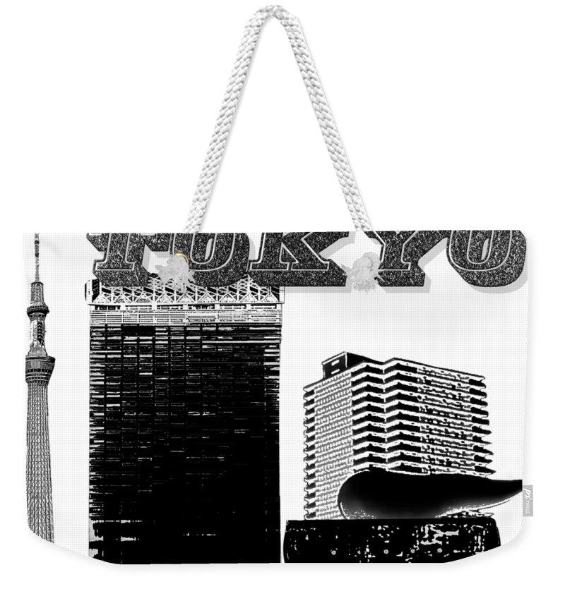 Tokyo Weekender Tote Bag featuring the mixed media Tokyo Inked by Pharris Art