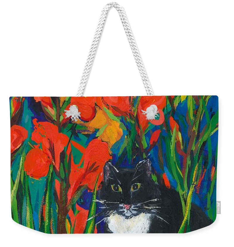 Cat Weekender Tote Bag featuring the painting Tom And Gladioli by Sarah Gillard
