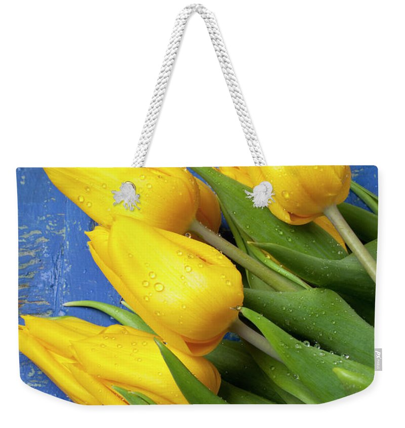 Tomato Food Flowers Tomatoes Weekender Tote Bag featuring the photograph Tomato And Tulips by Garry Gay