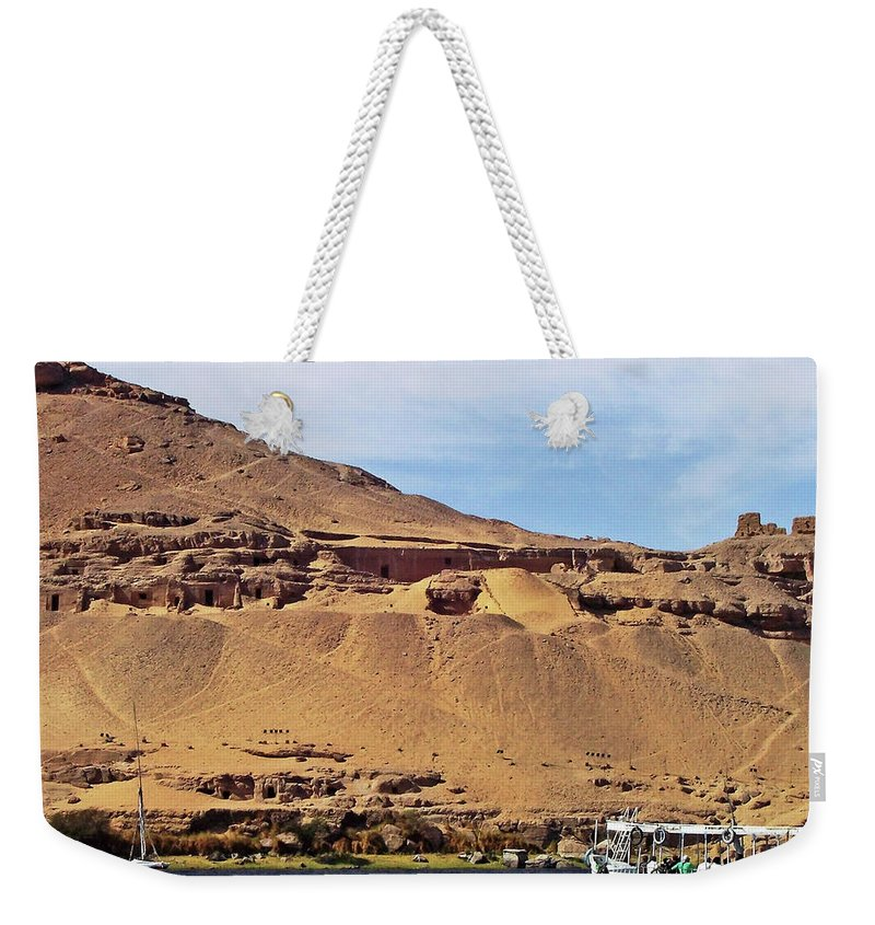 Aswan Weekender Tote Bag featuring the photograph Tombs Of The Nobles Aswan by Debbie Oppermann