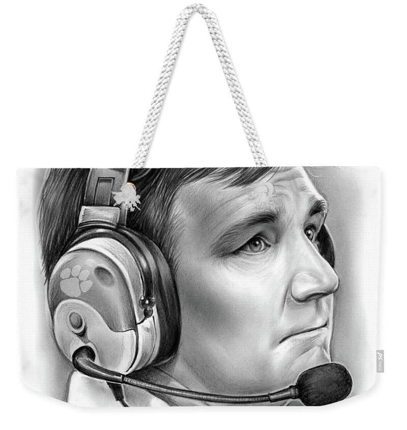 Clemson Weekender Tote Bag featuring the drawing Tommy Bowden by Greg Joens