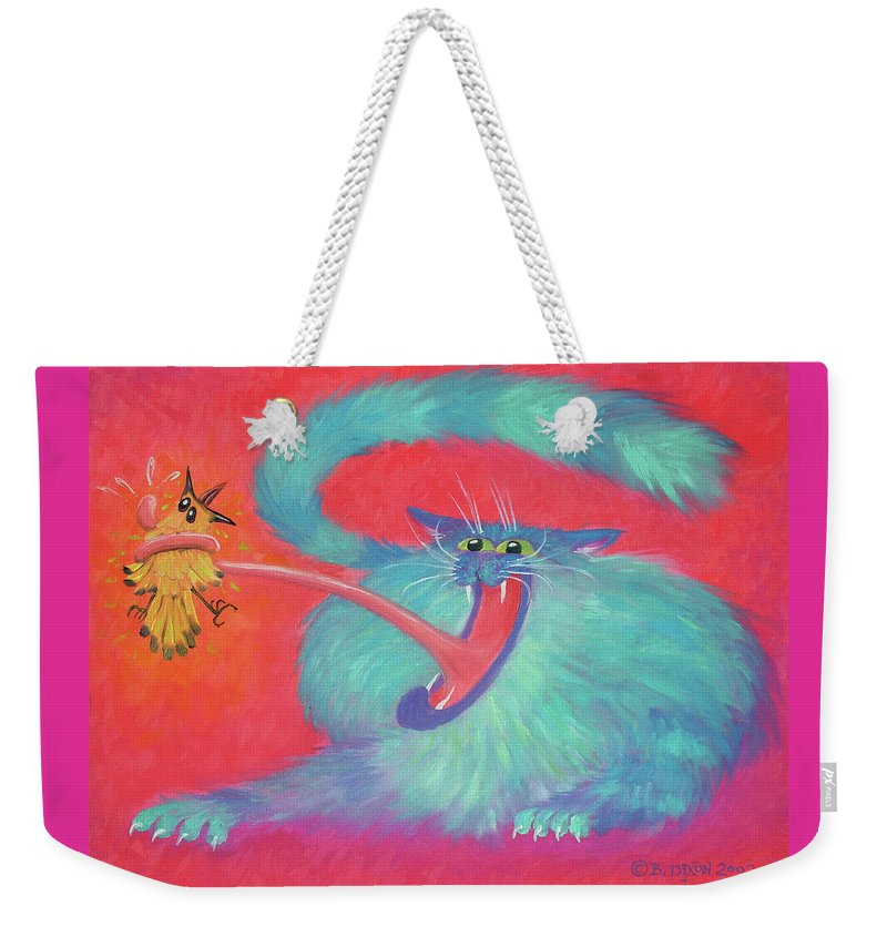 Cat Weekender Tote Bag featuring the painting Tongue-tied by Baron Dixon