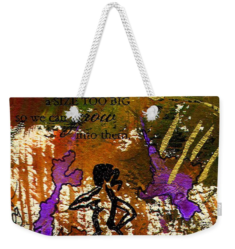 Woman Weekender Tote Bag featuring the mixed media Too Big Dreams by Angela L Walker