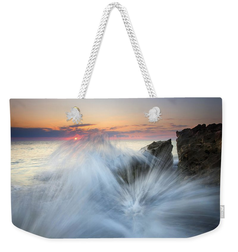 Sunrise Weekender Tote Bag featuring the photograph Too Close For Comfort by Mike Dawson