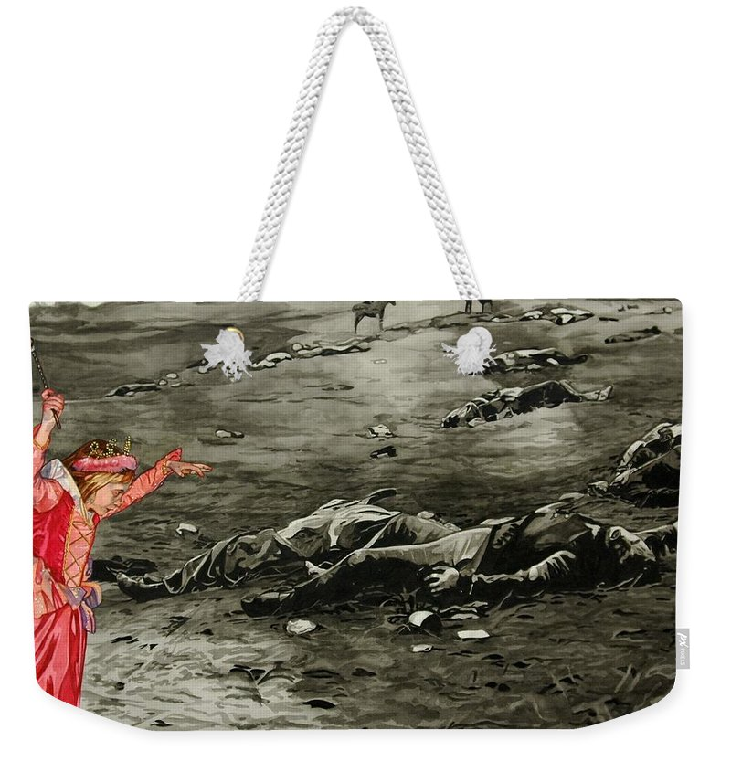 War Weekender Tote Bag featuring the painting Too Late by Valerie Patterson