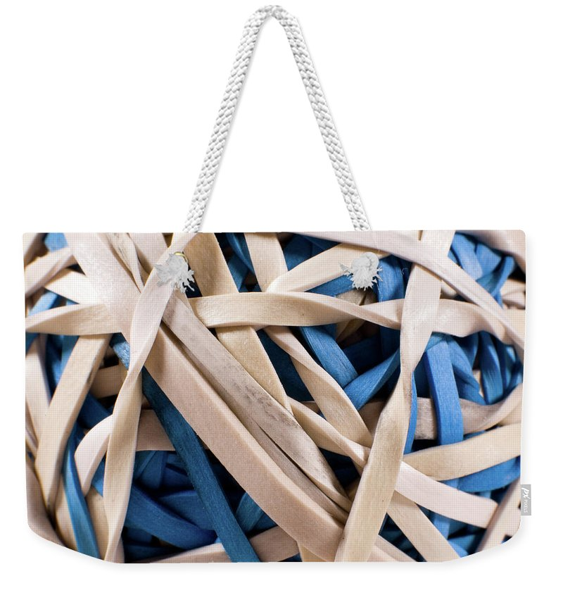 Abstract Weekender Tote Bag featuring the photograph Too Much Time And Elastic by Alan Look
