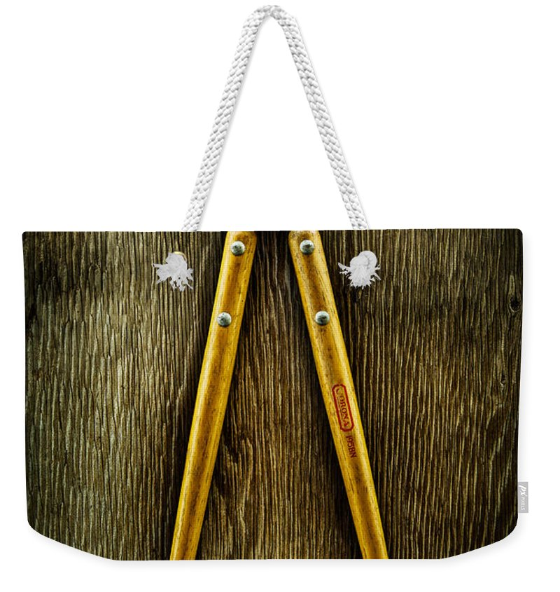 Industrial Weekender Tote Bag featuring the photograph Tools On Wood 34 by YoPedro