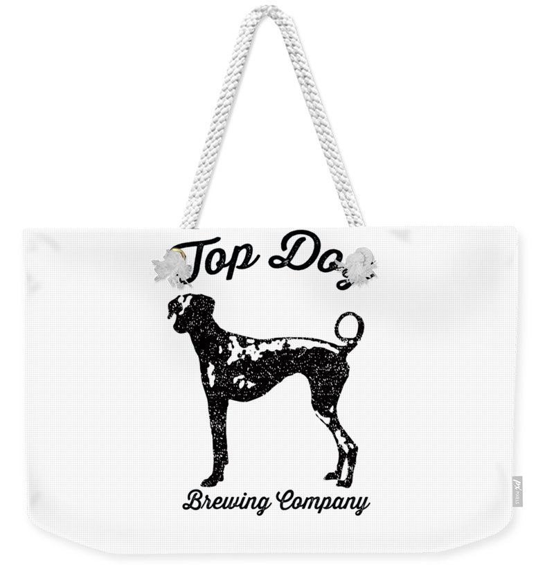 Dog Weekender Tote Bag featuring the drawing Top Dog Brewing Company Tee by Edward Fielding