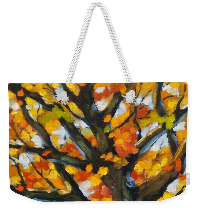 Art For Sale; Original Painting; Prankearts; Landscape; Birches; Trees; Nature; Richard T Pranke; Weekender Tote Bag featuring the painting Top Of The Maples by Richard T Pranke