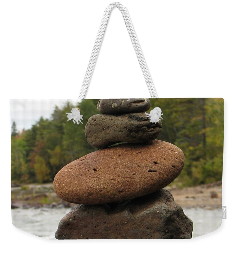 Rocks Weekender Tote Bag featuring the photograph Top Of The Stack by Kelly Mezzapelle