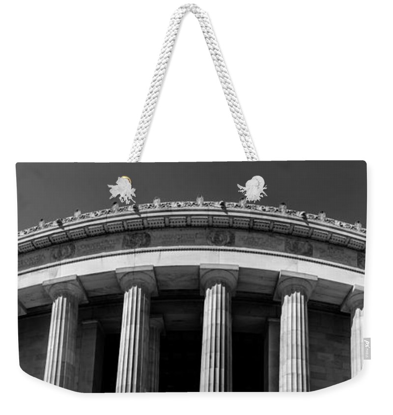 Patriotic Weekender Tote Bag featuring the photograph Top Portion Of A Lincoln Memorial Old Greek Architecture by Alex Grichenko