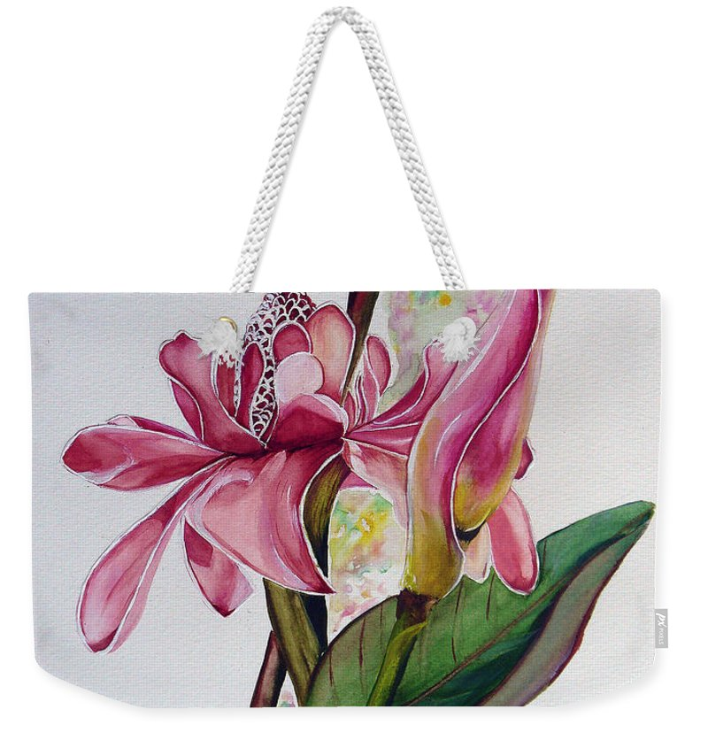 Flower Painting Floral Painting Botanical Painting Flowering Ginger. Weekender Tote Bag featuring the painting Torch Ginger Lily by Karin Dawn Kelshall- Best