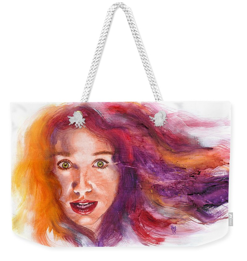 Musicians Weekender Tote Bag featuring the painting Tori Rainbow by Ken Meyer jr