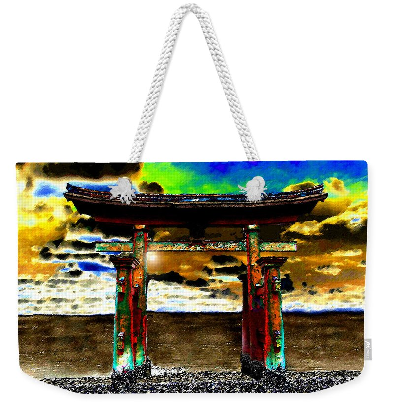 Art Weekender Tote Bag featuring the painting Torii Sunrise by David Lee Thompson